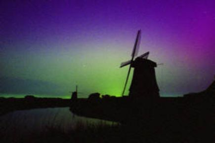Northern lights seen from northern province of Netherlands